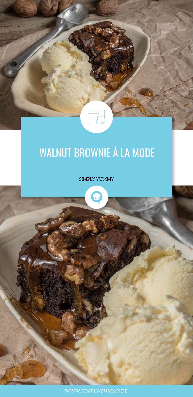 Walnut Brownie à la mode | Recipe | Brownie bar, Brownies and Backen