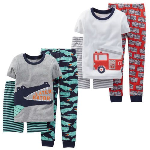 Carters-Boys-3-piece-Pajama-Set-2-pack-White-and-Gray-Firetruck