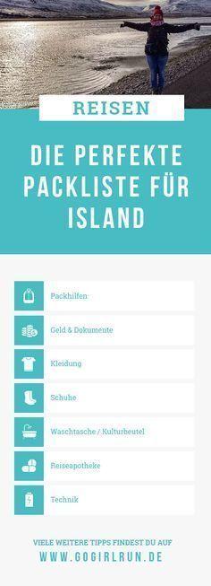 Meine Packliste für Island Meine Packliste für Island        Du suchst eine Packliste für Deine Island-Reise und fragst Dich, was darfst Du nicht vergessen? Welches ist die richtige Kleidung für einen Roadtrip & Wanderungen. In meiner Checkliste zum Ausdrucken & Abhaken wirst Du fündig und findest Antworten.
