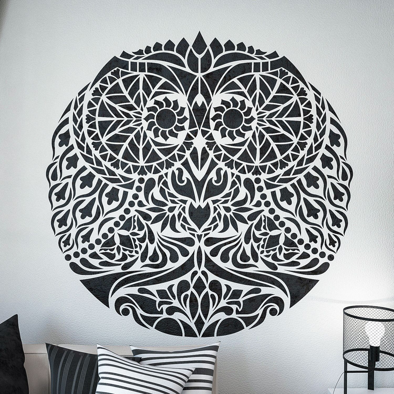Stylized Owl Stencil Unique Owl Design Stencil Mandala Style