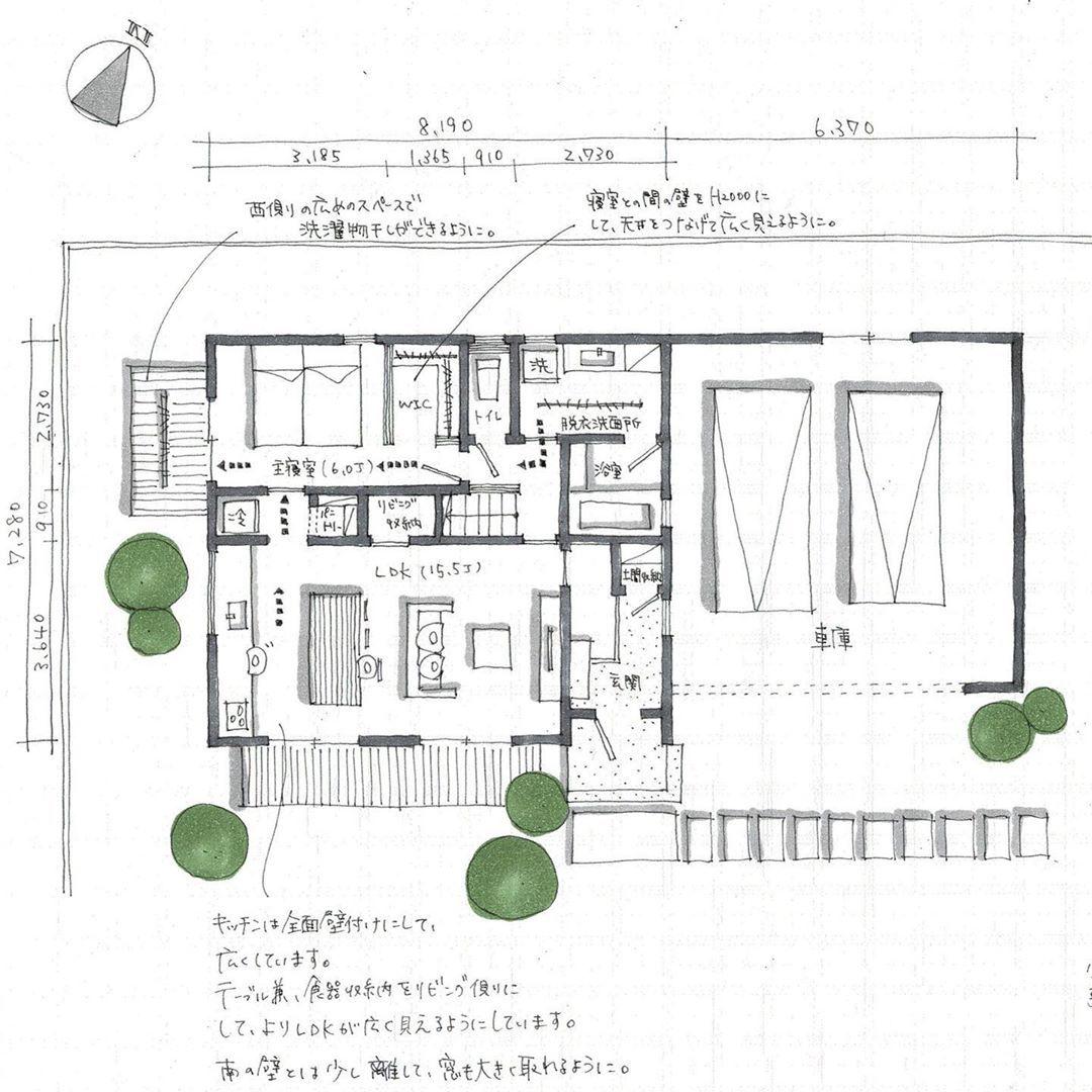 Mio Design Officeはinstagramを利用しています 間取り相談依頼より 26坪 車庫除く の2階建です Ldkは広く見せるために壁付キッチンにして ダイニングテーブルと食器等の収納を一緒に使えるようにしました 主寝室を1階に持ってきて