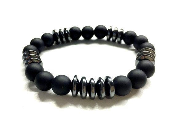 Guys Bead Bracelet Men S Stone Jewelry Black Onyx By Pearlatplay