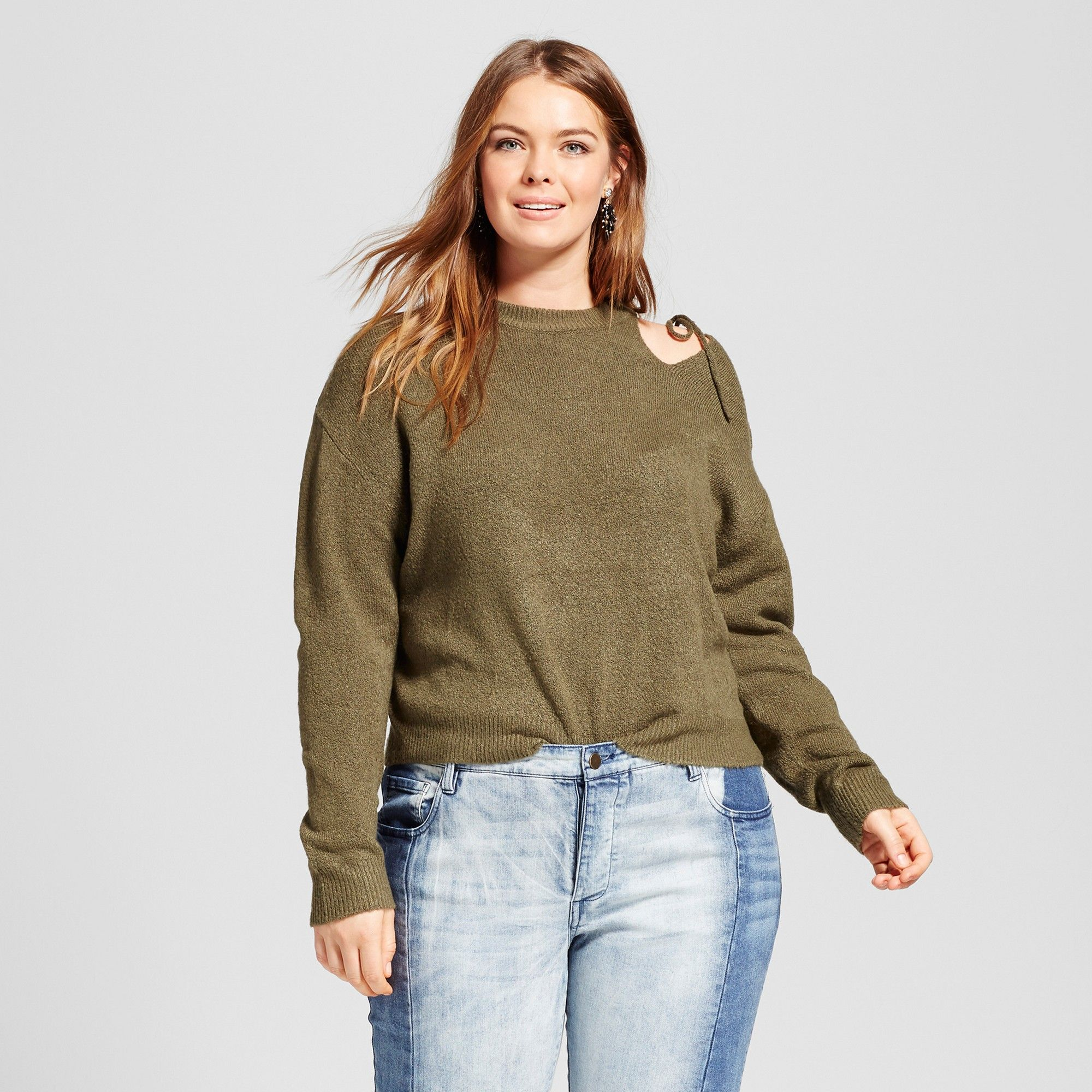 Womenus plus size long sleeve cut out shoulder sweater who what