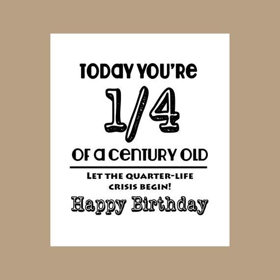 25th Birthday Card 1 4 Century Old Milestone 1983 Funny Ca