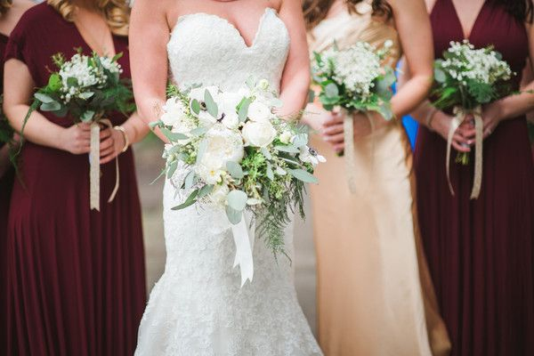 Lush bridal bouquet idea - white roses, peonies, seeded eucalyptus and more {Patrick Nied Photography}