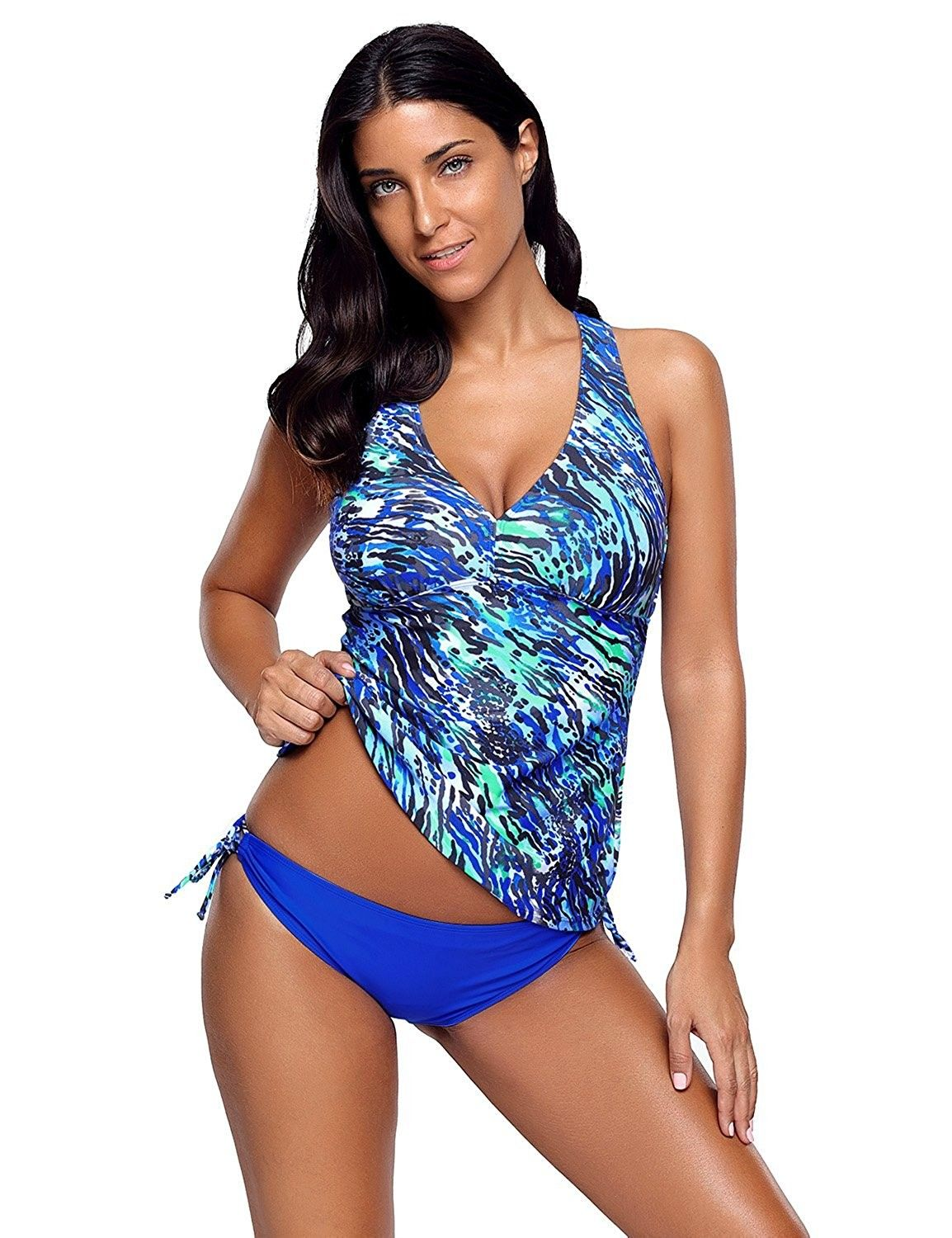 897040dd3f1f8 Women's Clothing, Swimsuits & Cover Ups, Tankinis, Women's Two Piece  colorful Print Tankini Set Crisscross Back Swimsuit - Multicoloured 1 -  C5188KSA4T2 ...
