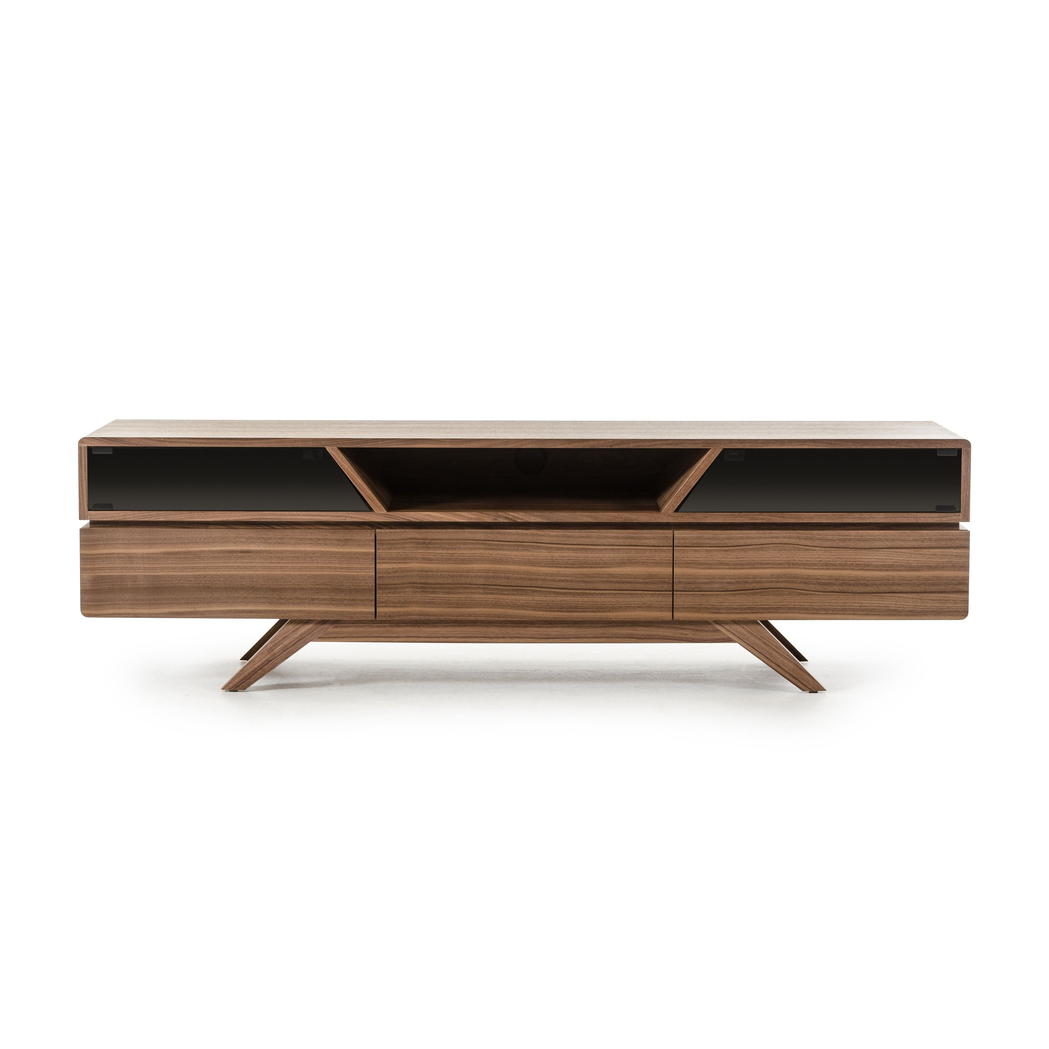 unusual solid wood media cabinet. Let your TV stand out on this Soria Walnut Stand from VIG Furniture  This