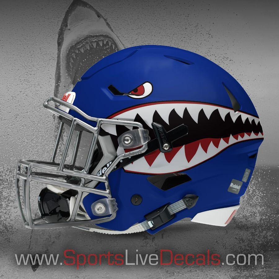 Shark Decal On Navy Riddell Helmet Imprint Decals Pinterest - Helmet decalsfootball helmet decals business art designs