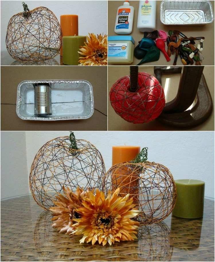 bricolage d automne comment se faire des citrouilles colle ballon et fils. Black Bedroom Furniture Sets. Home Design Ideas