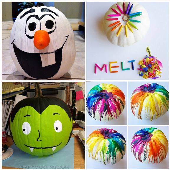 Halloween Painted Pumpkins Part - 47: Clever No Carve/Painted Pumpkin Ideas For Kids