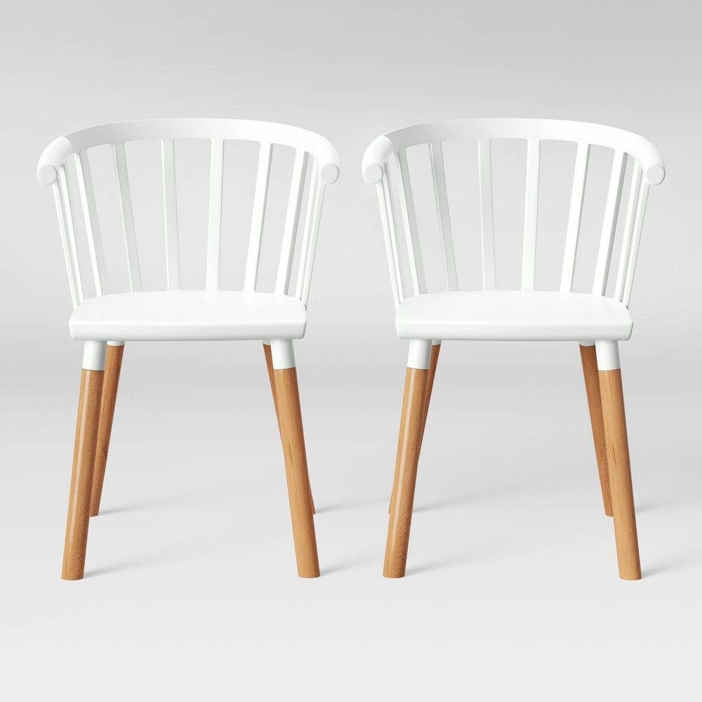Set Of 2 Balboa Barrel Back Dining Chair White Natural Wood Project 62 Dining Chairs White Dining Chairs Dining Furniture White and natural kitchen chairs