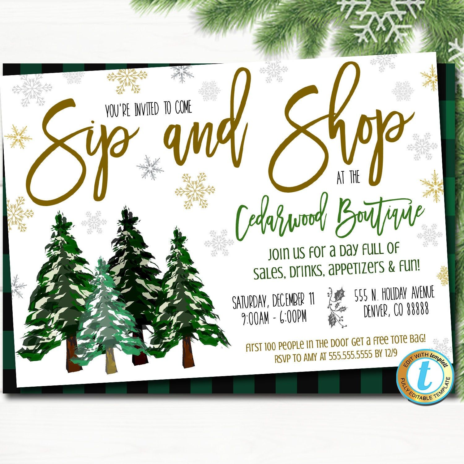 Christmas Open House 2021 Holiday Open House Invitation Christmas Boutique Shopping Etsy In 2021 Holiday Open House Invitations Open House Invitation Open House Party Invitations