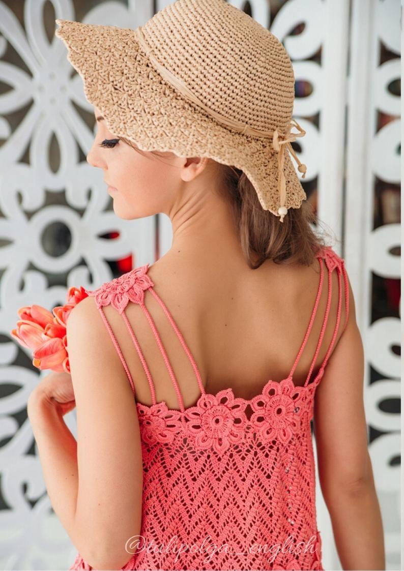 "Crochet sundress pattern Instant download PDF ""Coral mood"