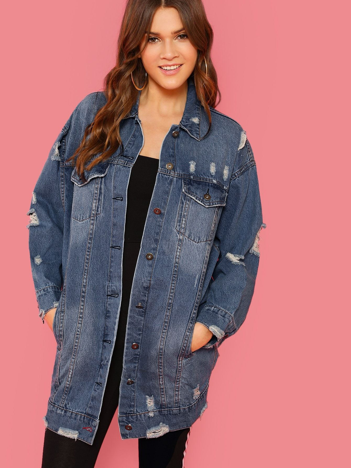 Ad Button Front Ripped Detail Longline Denim Jacket Tags Casual Navy Plain Collar Long Ripp Ripped Jacket Distressed Denim Jacket Longline Denim Jacket [ 1785 x 1340 Pixel ]