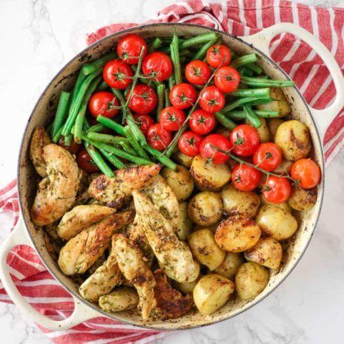 Pesto Chicken Bake - An Easy and Delicious One Pan Recipe #onepandinnerschicken