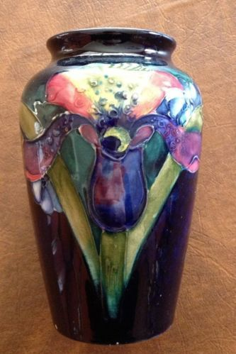 Vintage Moorcroft Hand Signed Cobalt Blue Art Pottery Vase Orchids or Irises | eBay