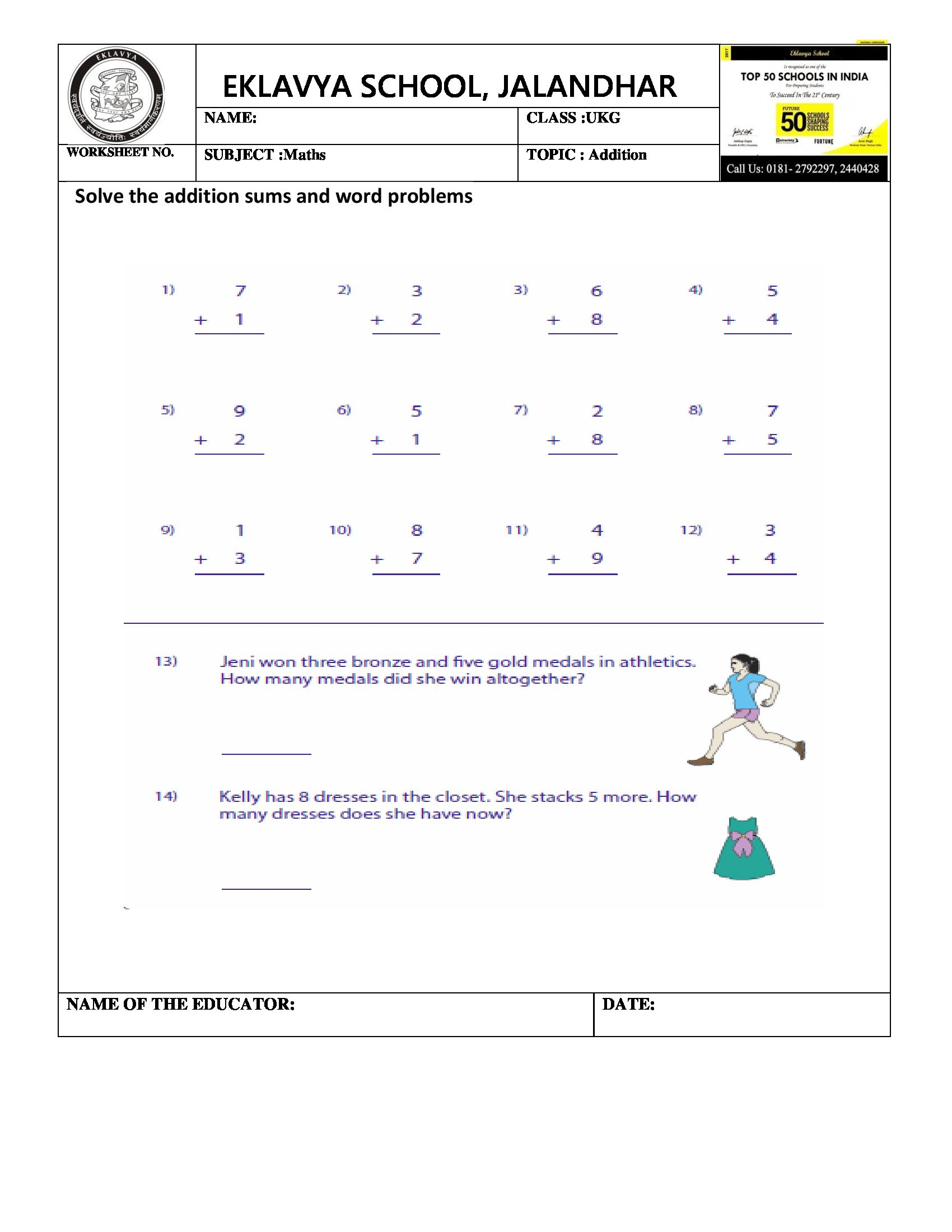 Worksheet On Word Problem