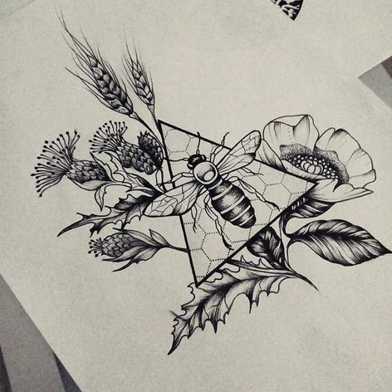 Image result for triangle tattoo with flowers