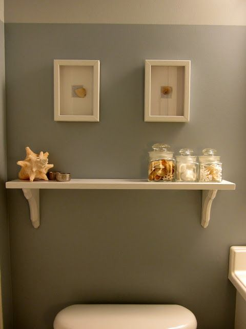 Easy Diy Updates For Simple And Beachy Bathroom, Bathroom Ideas, Home Decor,  A DIY Shelf And Shell Wall Art Lighten Up The Soft Blue Gray Walls Find  More ...