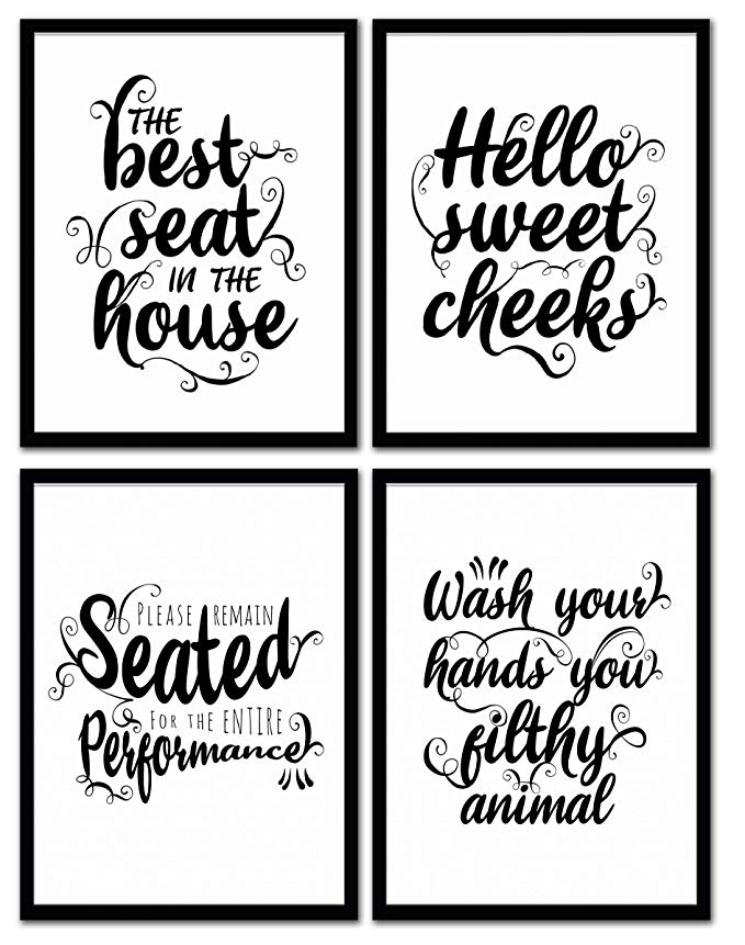 Funny Bathroom Signs for Home Decor, Set of 4