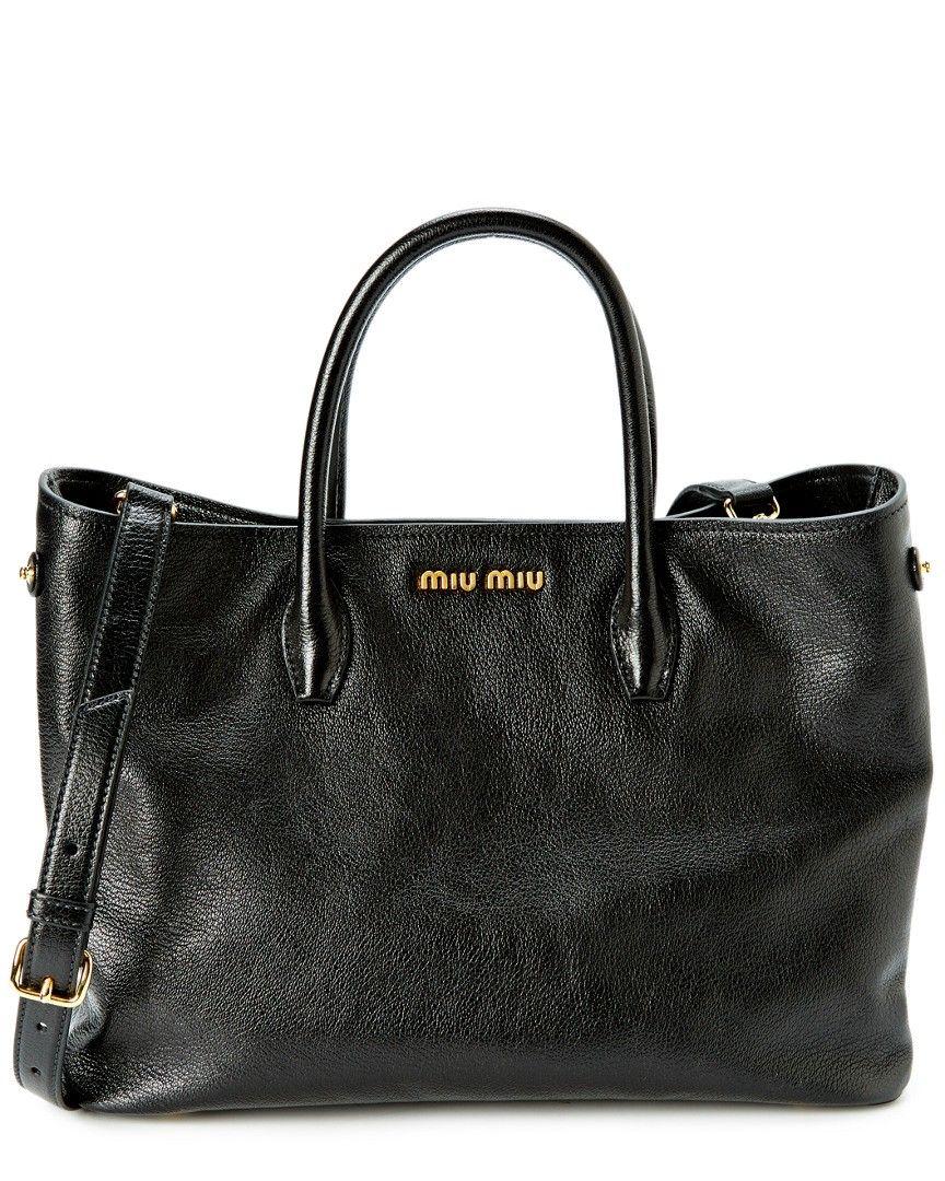 e57d24775913 Miu Miu Madras Small Leather Satchel Black