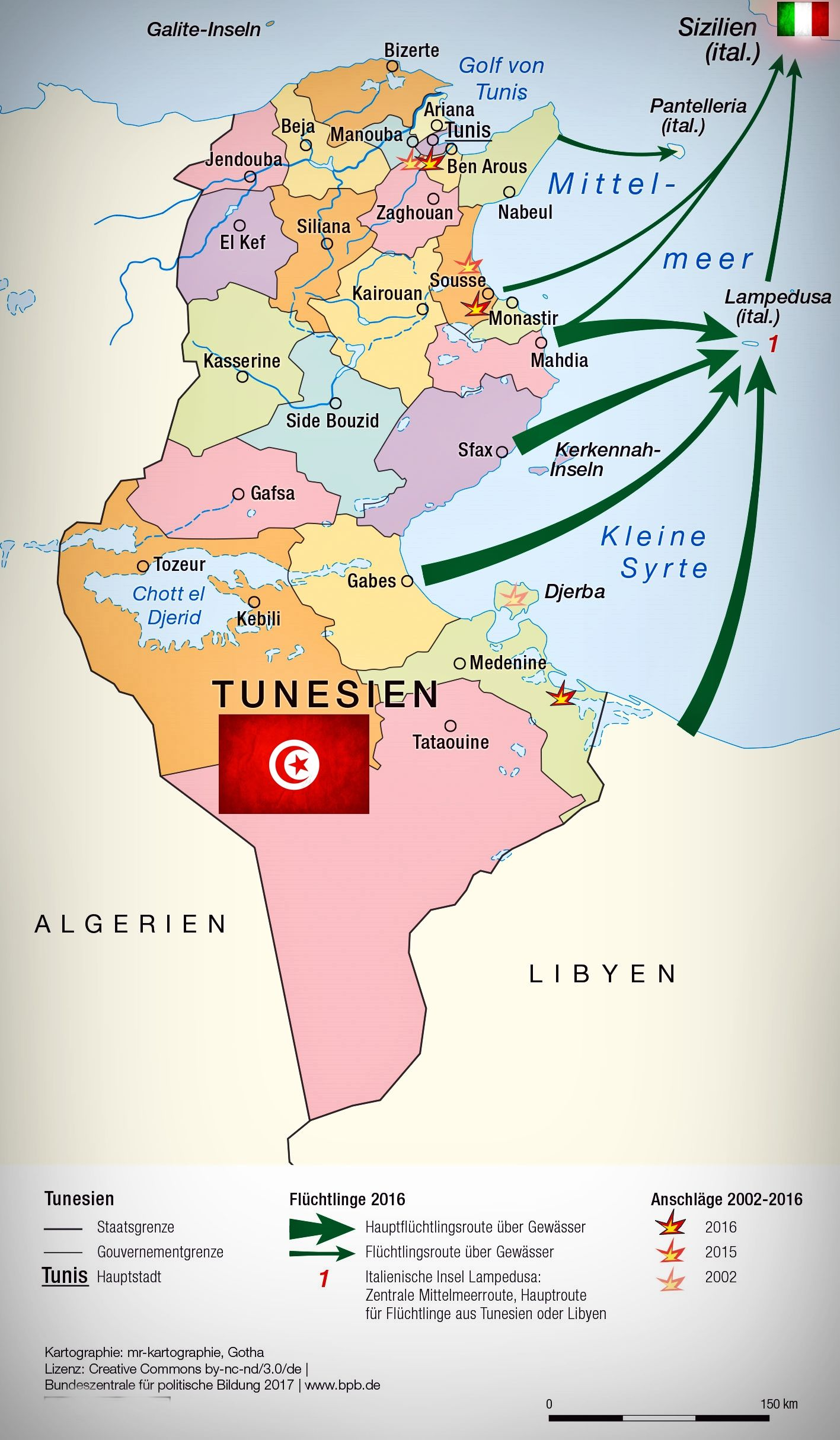 Italien Karte Lampedusa.Italien 2016 Hauptfluchtlingsrouten Von Tunesien Nach