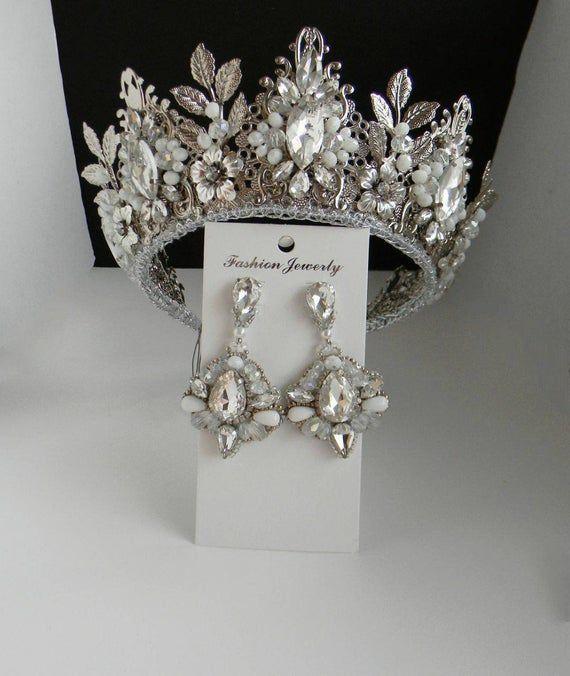 Wedding crown Bridal crown Crystal crown Royal tiara Bridal crow Rhinestones tiara Winter crown Snow Queen crown Winter headpiece Silver
