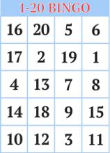 1 20 Number Bingo Cards For Kids Bingo Numbers Preschool