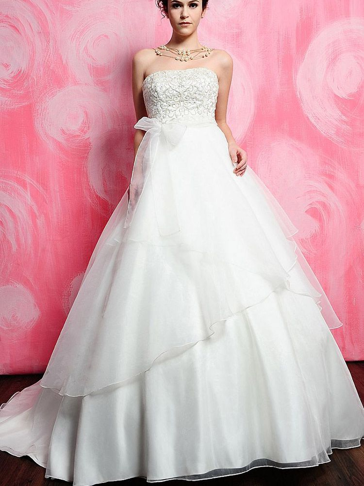 Ball Gown Strapless Organza Satin Court Train Sashes / Ribbons ...