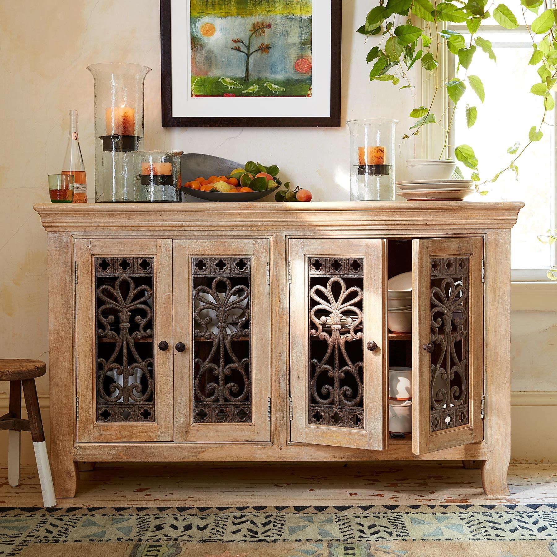 Brunswick Console Completely handcrafted from sustainable plantation-grown mango wood with a decorative iron grill on four doors. Two fixed shelves. & BRUNSWICK CONSOLE -- Completely handcrafted from sustainable ... pezcame.com