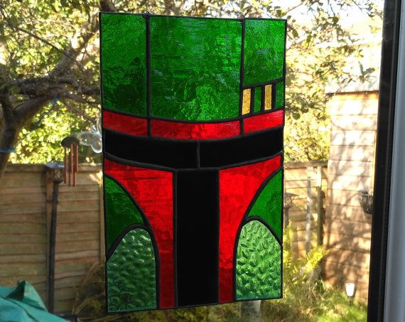 Boba Fett Stained Glass Panel, Star Wars, for wall, window or suncatcher