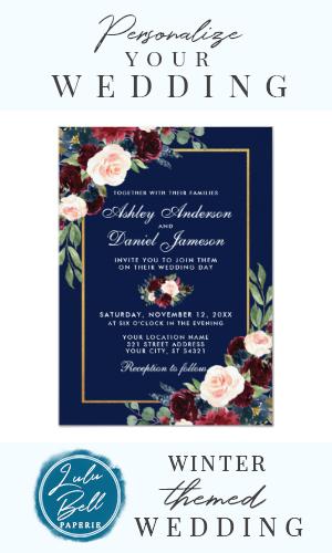 Watercolor Blue Burgundy Floral Gold Wedding Invitation