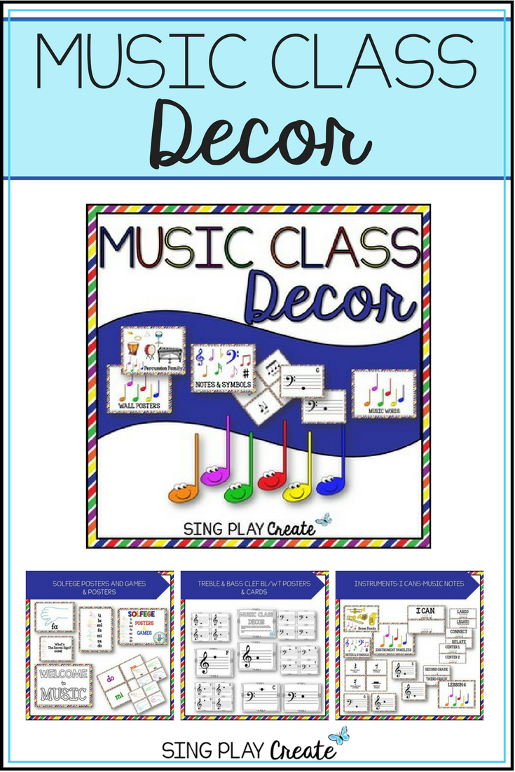 Music Class Decor Primary Colors Bulletin Board Posters Music