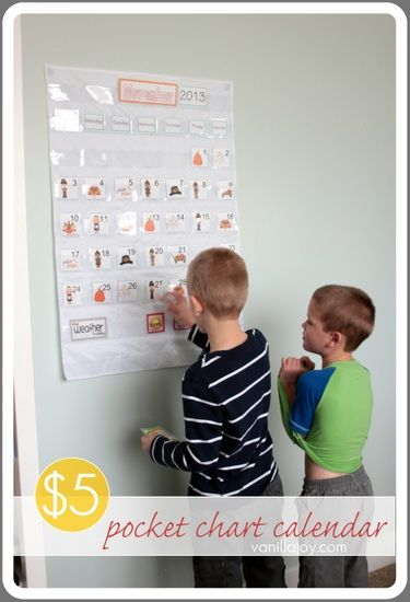 Diy pocket chart calendar for homeschool or just fun make whatever color you want vanillajoy share your craft pinterest also rh
