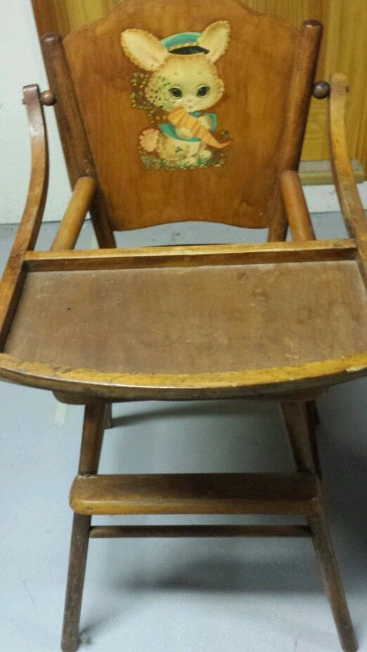 Vintage wooden child's baby infant toddler high chair ...