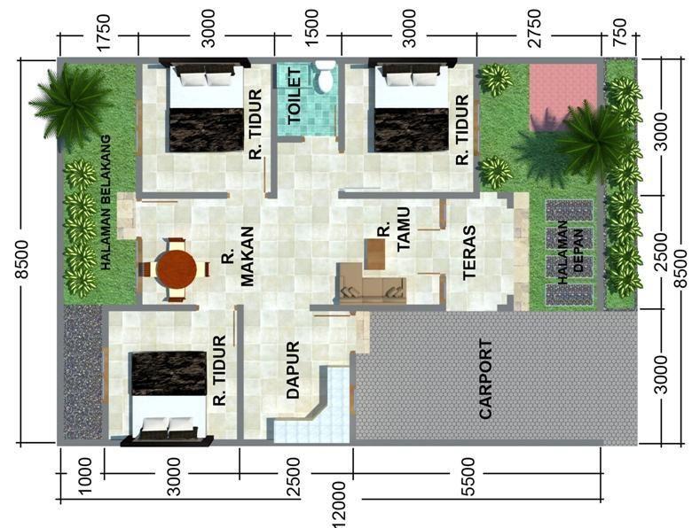 Rumah Minimalis Modern Type 75 Rumah Minimalis Denah Rumah Rumah