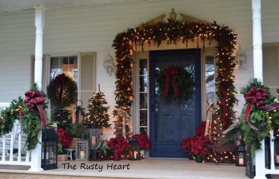 decorated front porch from the rusty heart at front porch ideas and morecom - Elegant Outdoor Christmas Decorations