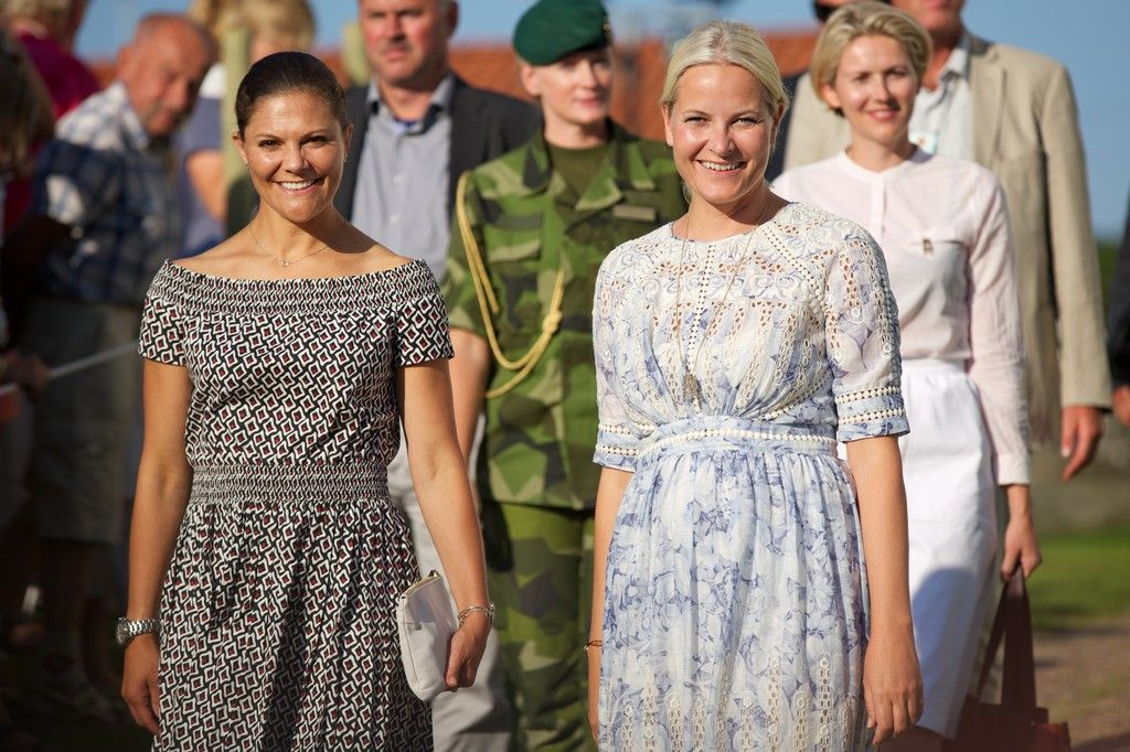 Crown Princess Victoria and Crown princess Mette-Marit took part in Climate Pilgrimage on August 22, 2015 in Stromstad, Sweden.