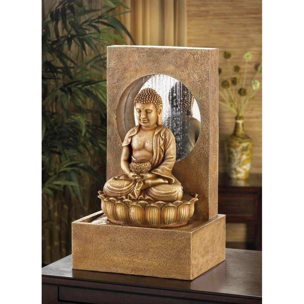 Cascading Table Top Waterfall Curtain Serene Buddha Indoor
