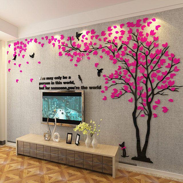 R$ 61.1 |L 3D Grande Árvore Murais De Parede para Sala de estar Quarto Cenário Sofá TV Fundo papel de parede papéis de parede decoração casa Adesivos Arte decorações-in Pap. parede from Renovação da Casa on Aliexpress.com | Alibaba Group
