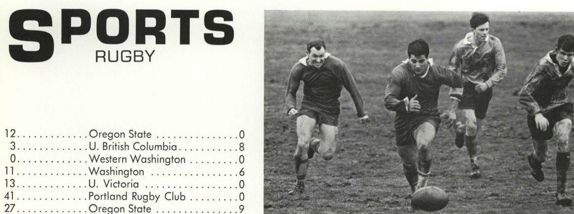Results Of Oregon Rugby S 1967 Season From The 1967 Oregana University Of Oregon Yearbook Ww University Of Oregon Oregon State Western Washington