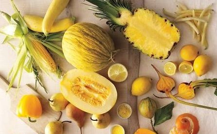 Eat more Yellow plant foods! Pineapples, peppers, lemons, squash, pears, rainbow beets, yellow carrots, tomatoes, golden berries, turmeric, pumpkin, bananas, etc.  Why? Phytonutrients, enzymes, and antioxidants among many other benefits! Yellow plant foods contain Bromelain, Limonoids, Luetin, and Zeaxanthin. These improve digestion and colon health, lower cholesterol, blood pressure and improve heart health. They're great for skin, eye sight and hair health, and prevent many cancers…