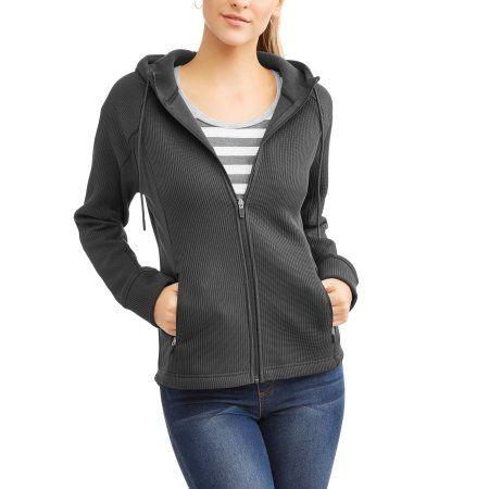 Swiss Tech Women's Waffle Knit Tech Fleece Hooded Jacket