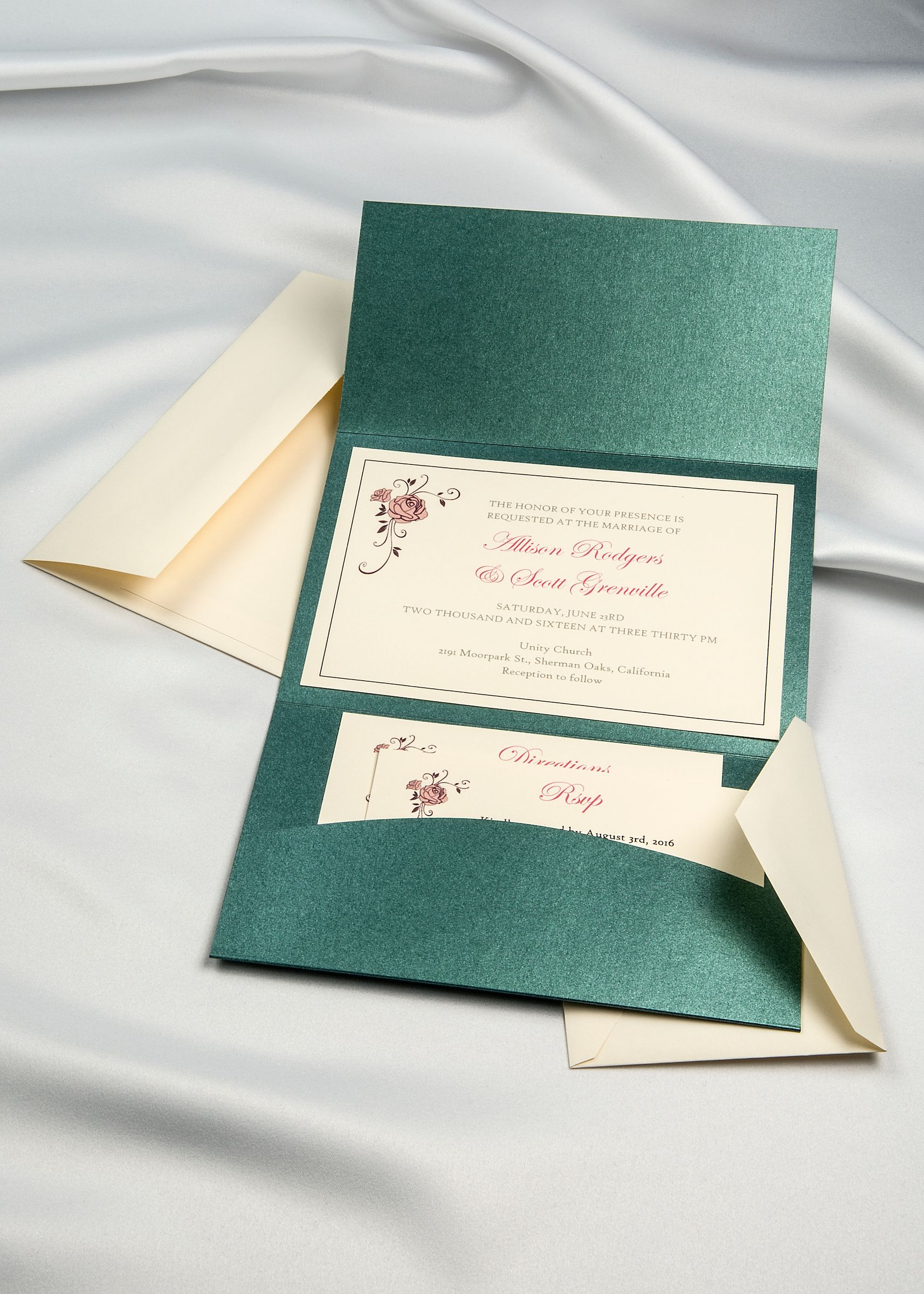 emerald shimmer horizon pocket folder with cream inserts and