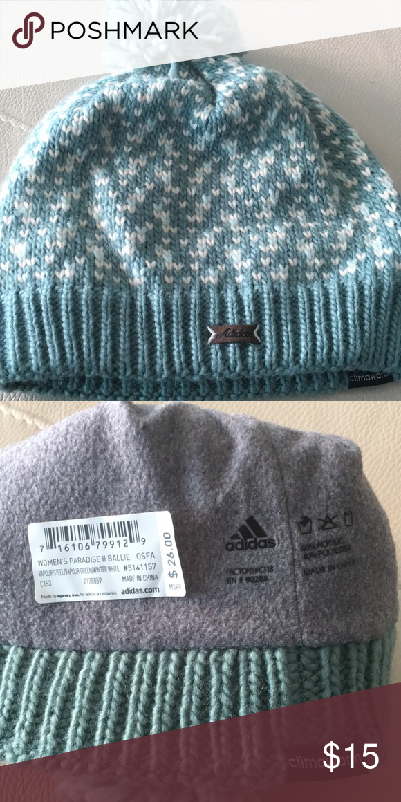 104afac85fadf2 Adidas climawarm Pom Pom knit hat lined in fleece Women's Paradise II  Ballie knit hat in Vapor steel/Vapour green/winter white.  60%Acrylic/40%Polyester.