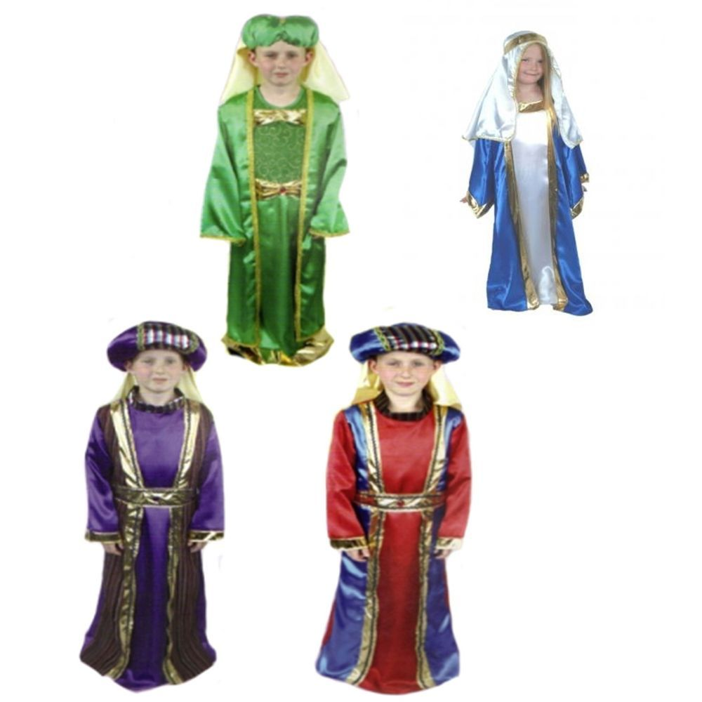 Girls Boy Christmas Angel Fairy Nativity 3 Wise Men Mary Joseph Shepherd Costume