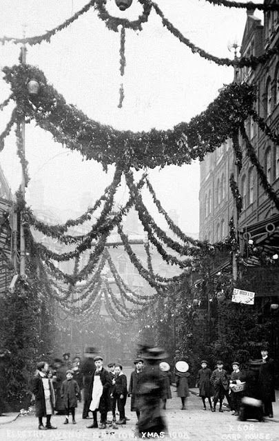 Christmas atmosphere on Electric Avenue, Brixton, London, 1908