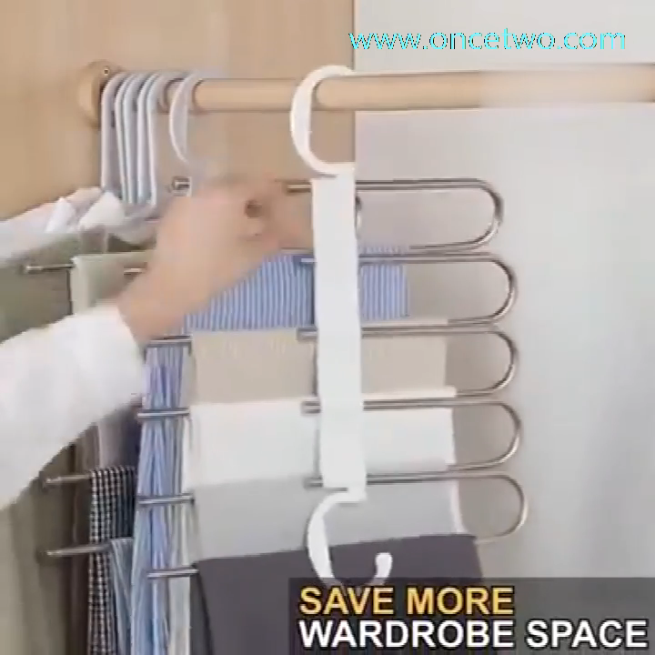 Stainless steel multi-functional drying trouser rack multi-layer storage folding trouser rack #foldingclothes