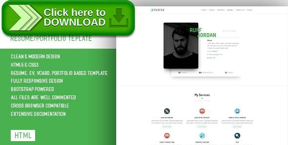 Free nulled Profex - CV / Resume  vCard Template download Online