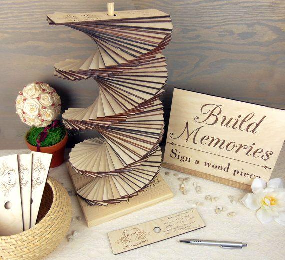 Photo of Wedding guest book alternative, build heart wedding guest book tower, wooden wedding guest book, memories guest book, 3D guest book